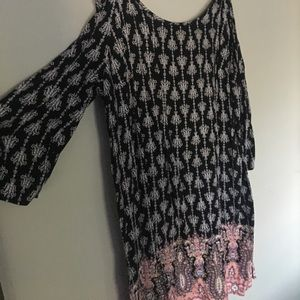 Paisley print, off the shoulder dress